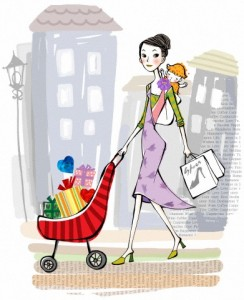 Young woman carrying baby and shopping