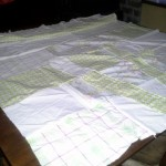 Vintage sheet quilt in progress.