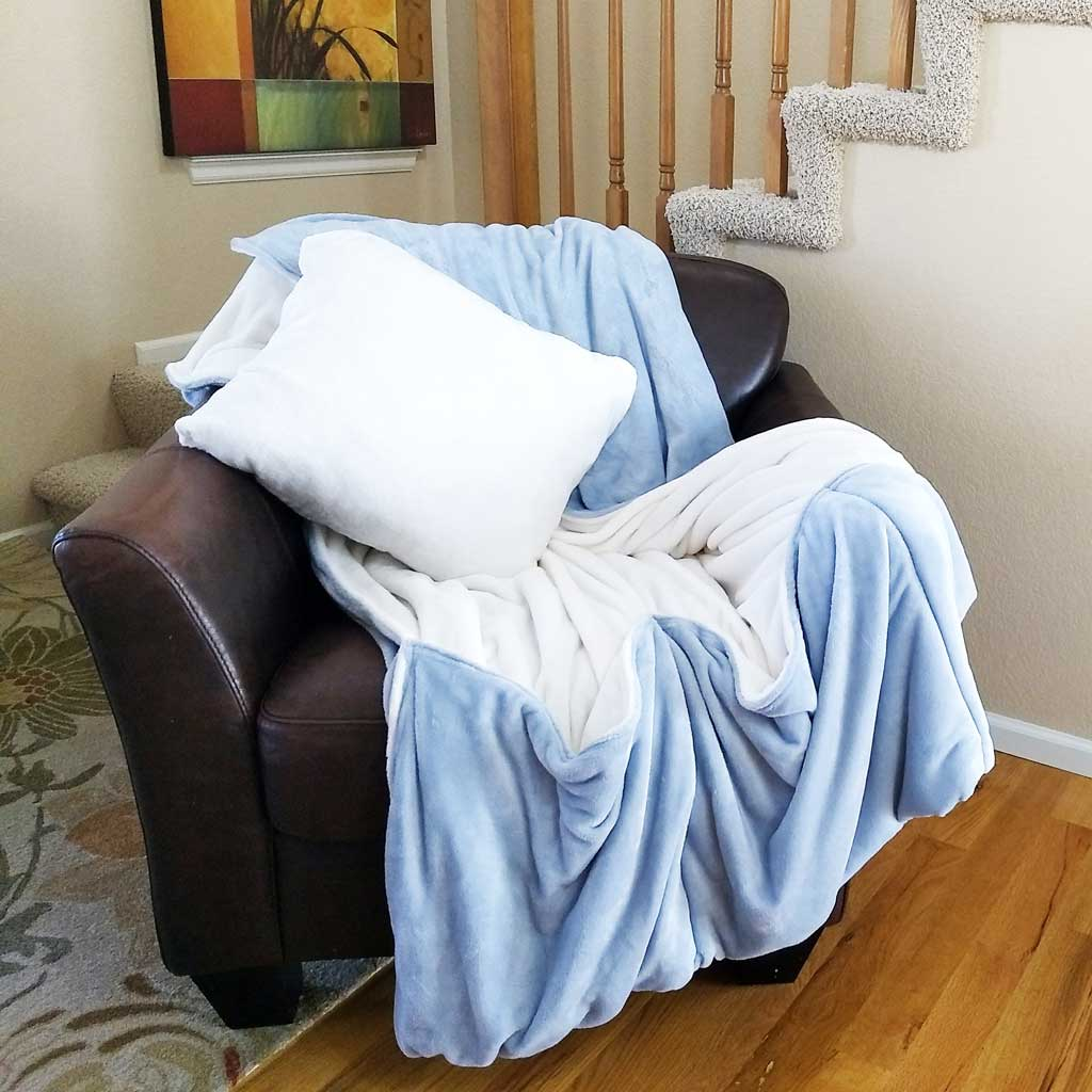 Blue Fleece Throw Blanket